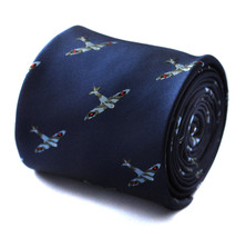 navy tie with spitfire plane embroidered design with signature floral design to