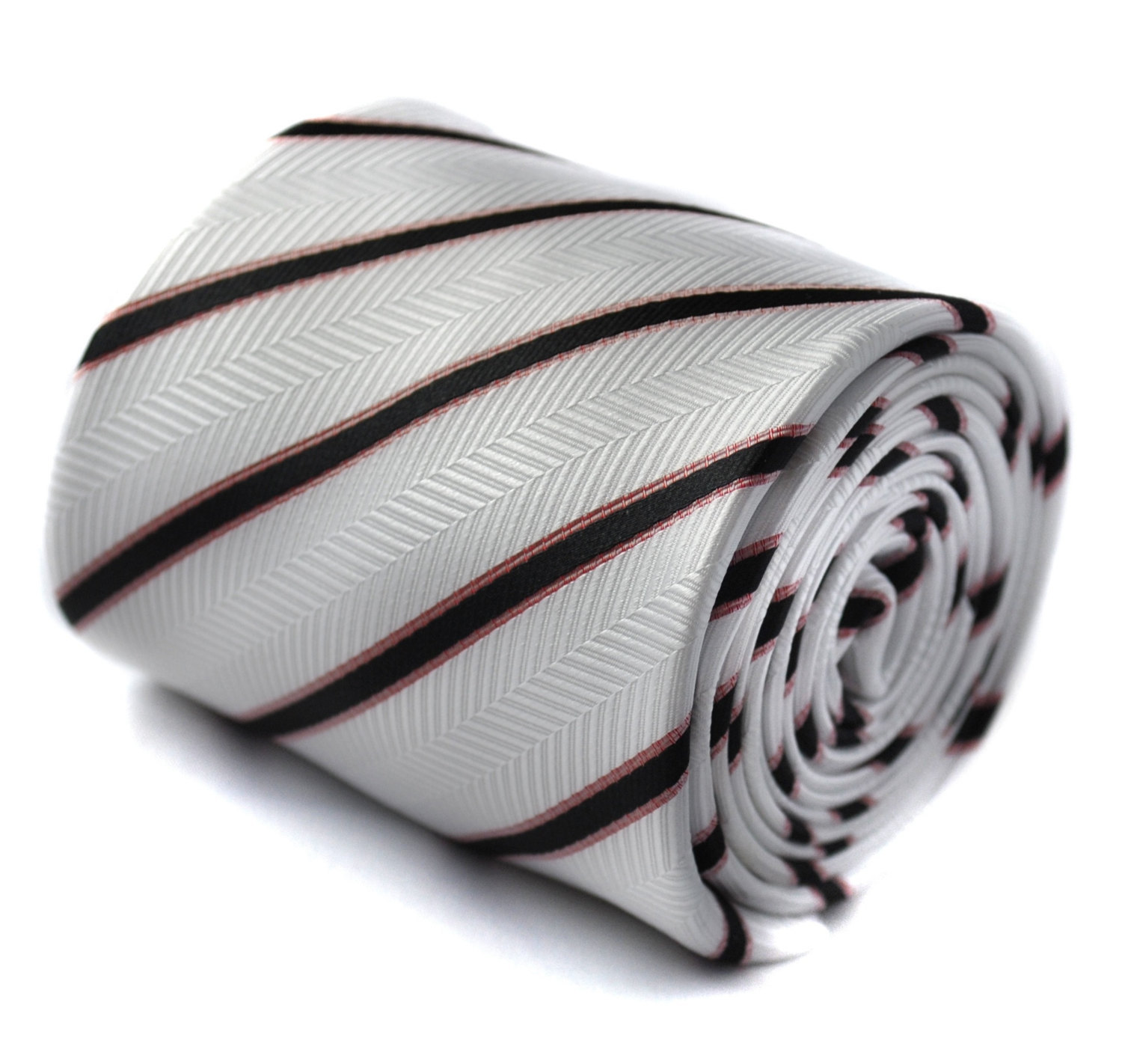 ivory and black striped tie with signature floral design to the rear by Frederic
