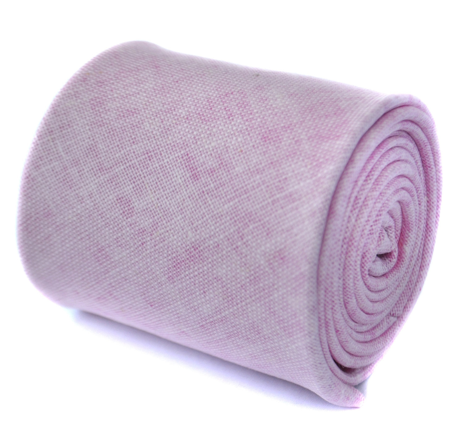 plain pale pink textured linen tie by Frederick Thomas FT1966