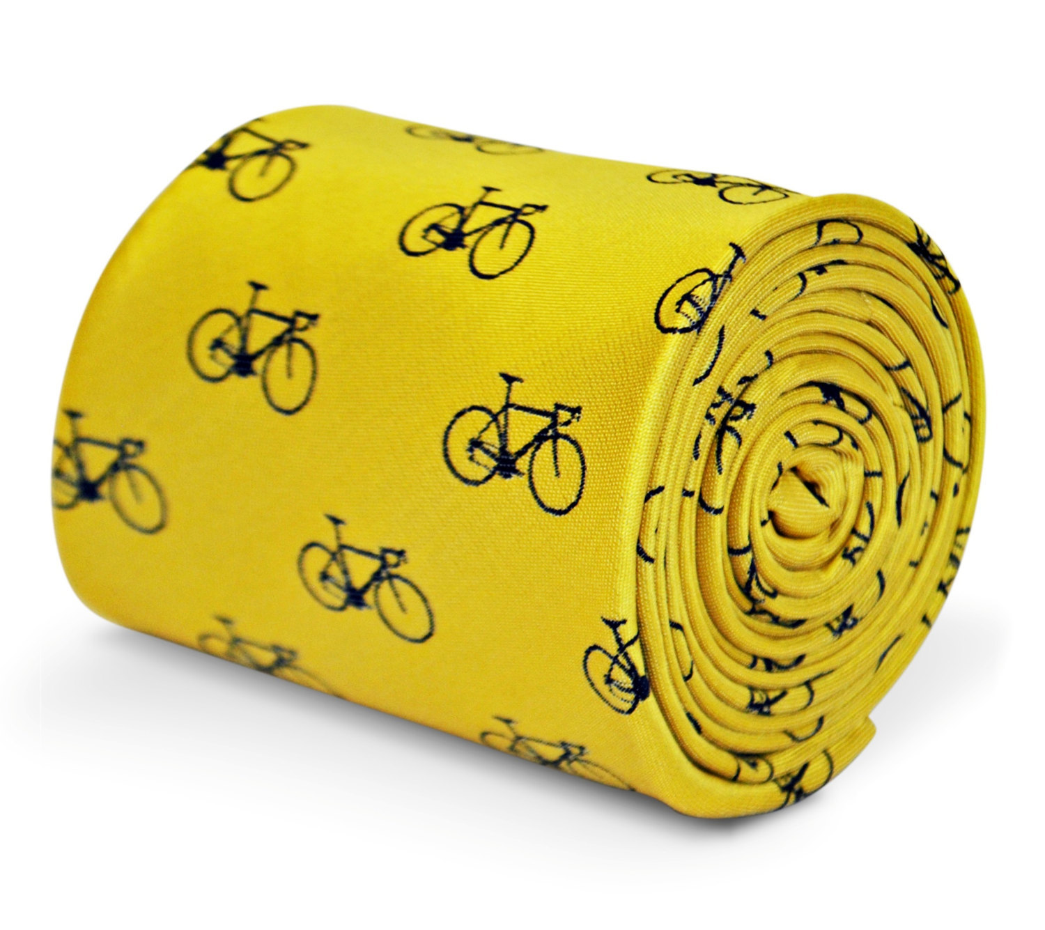 yellow tie with bicycle design with signature floral design to the rear by Frede