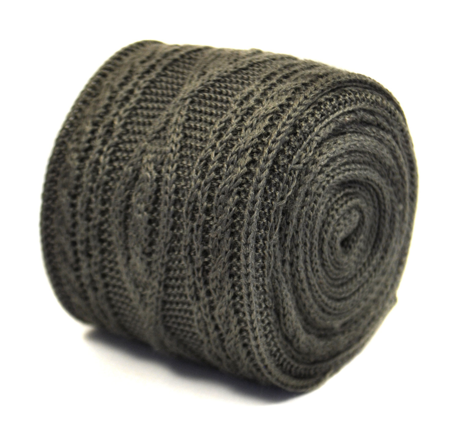 cable knitted silver grey/gray skinny knitted tie by Frederick Thomas FT2214