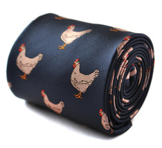 navy tie with chicken embroidered design by Frederick Thomas FT2016