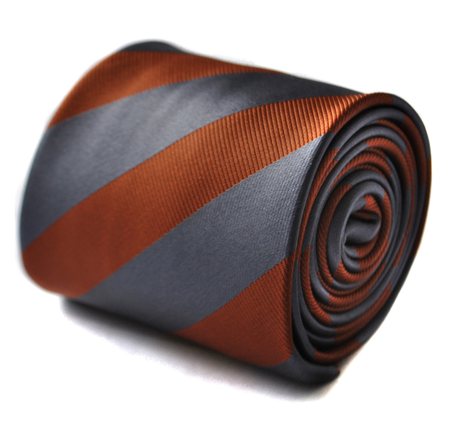 Silver grey and chocolate brown barber striped tie with floral design to the rea