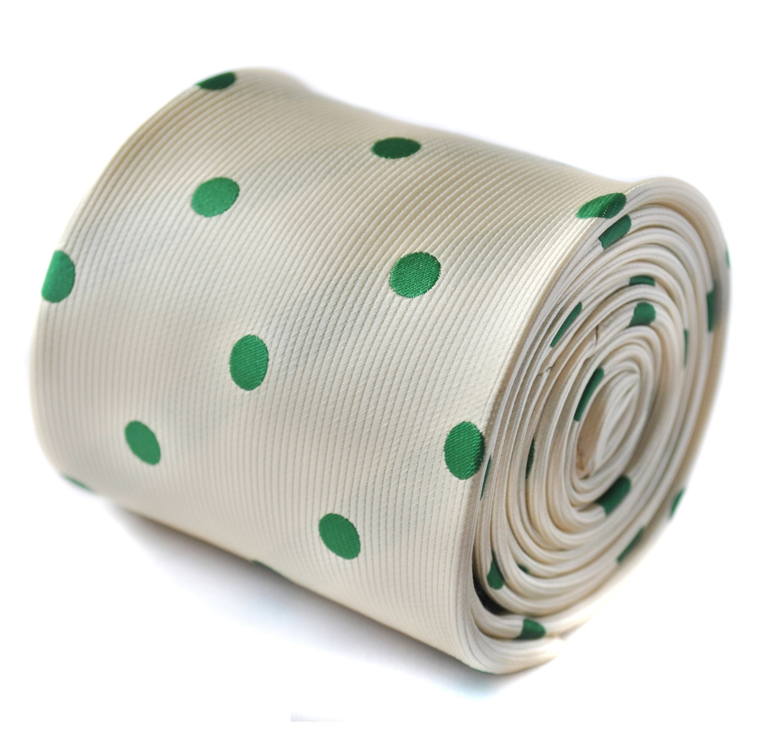 ivory and green polka spot tie with signature floral design to the rear by Frede