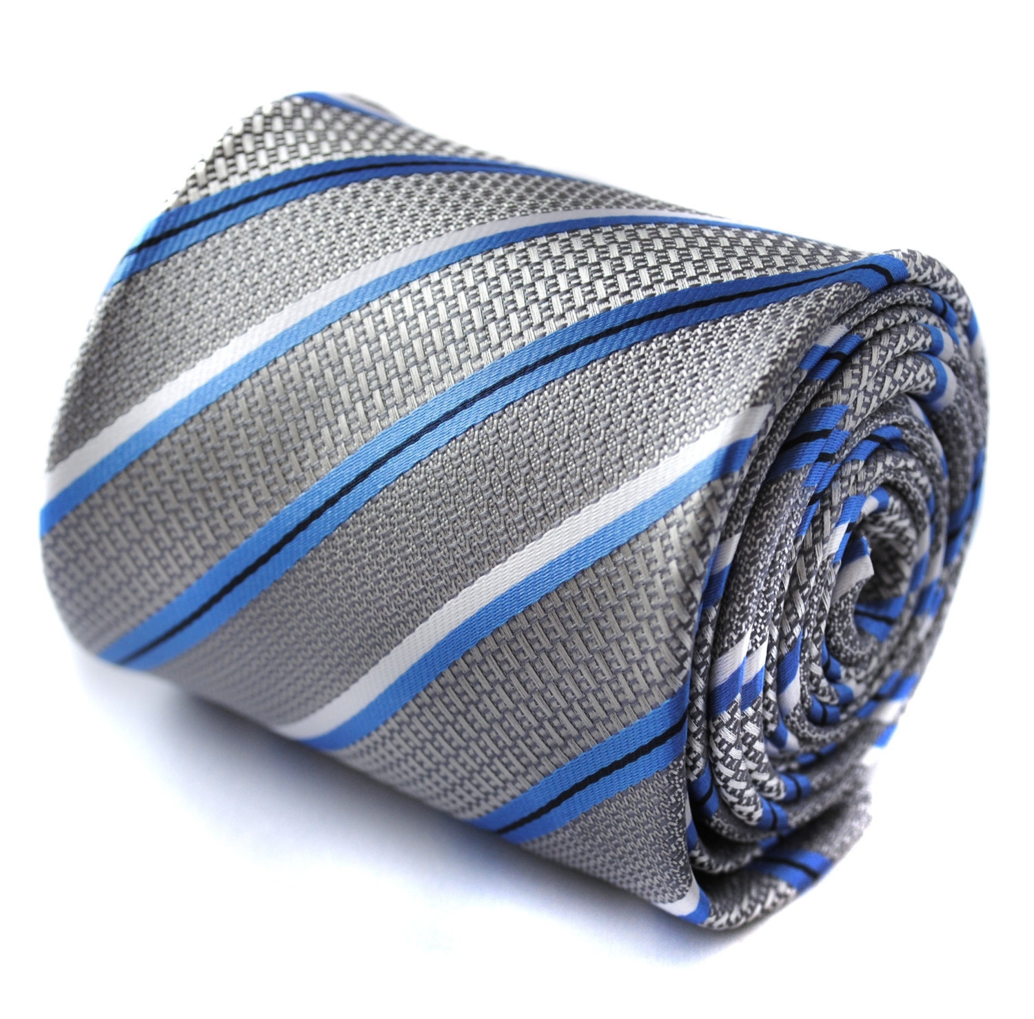 grey, blue and white striped tie with signature floral design to the rear by Fre