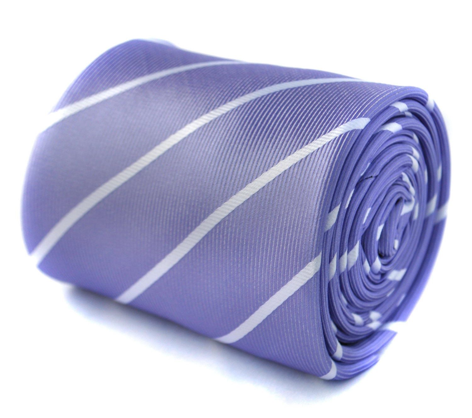 lilac purple and white thin club stripe tie with signature floral design to the