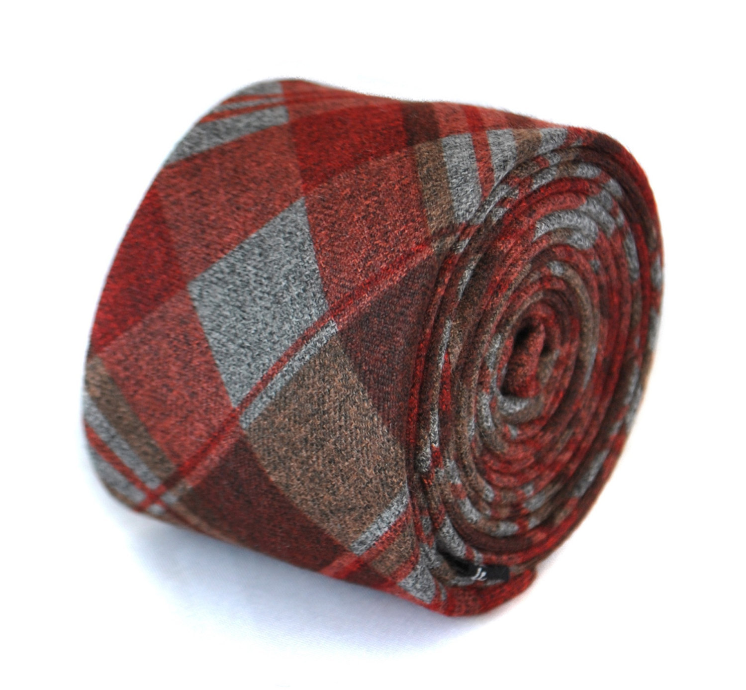 red, grey and brown 100% wool tweed check tie by Frederick Thomas FT2078