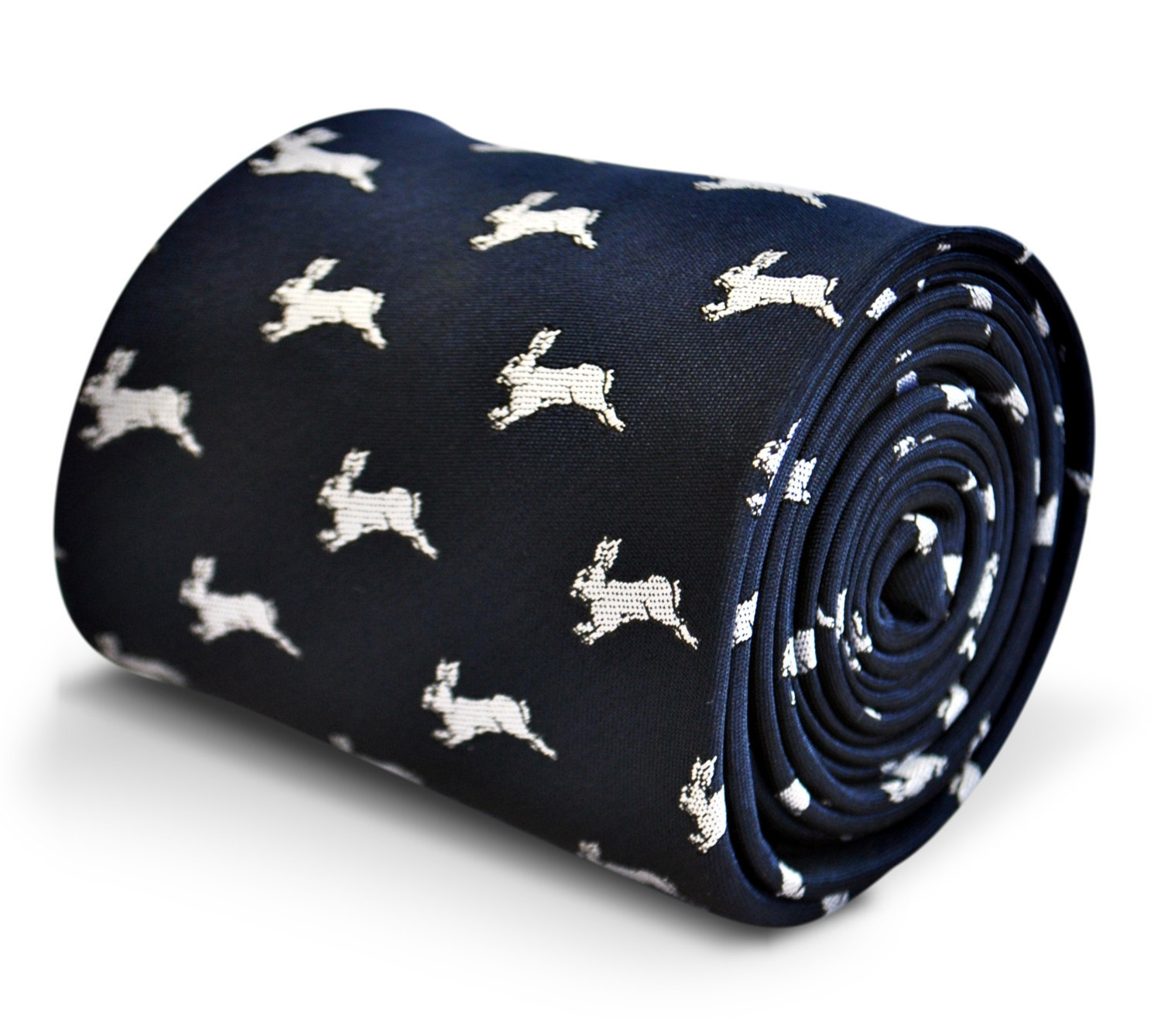 navy blue tie with leaping rabbit design with signature floral design to the rea