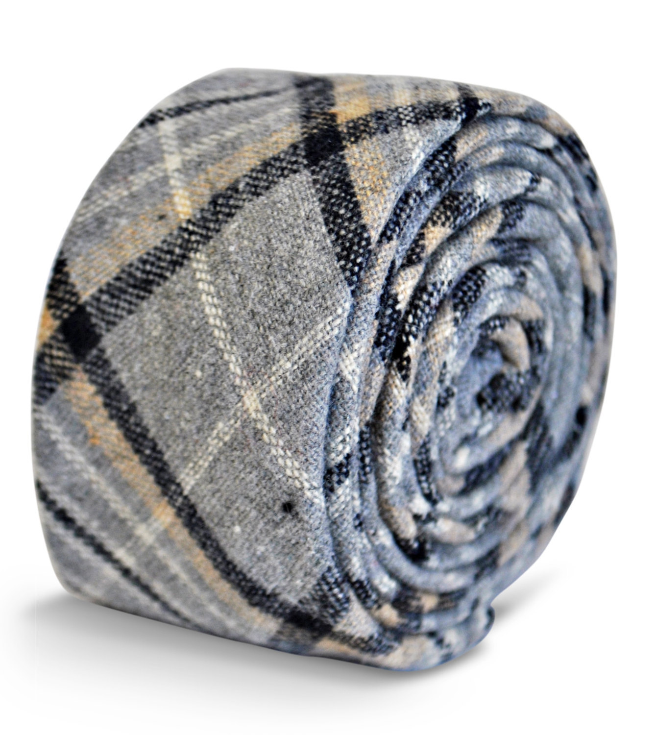 grey and black wool check style tie by Frederick Thomas FT3119