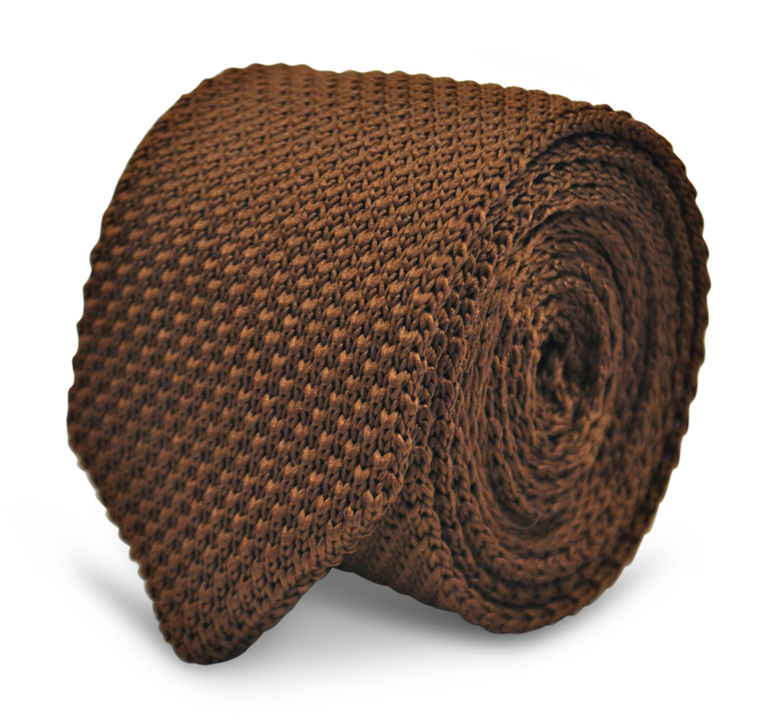 chocolate brown knitted wool tie with pointed end by Frederick Thomas in standar