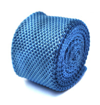 Plain light blue knitted tie with pointed end by Frederick Thomas FT263 in stand