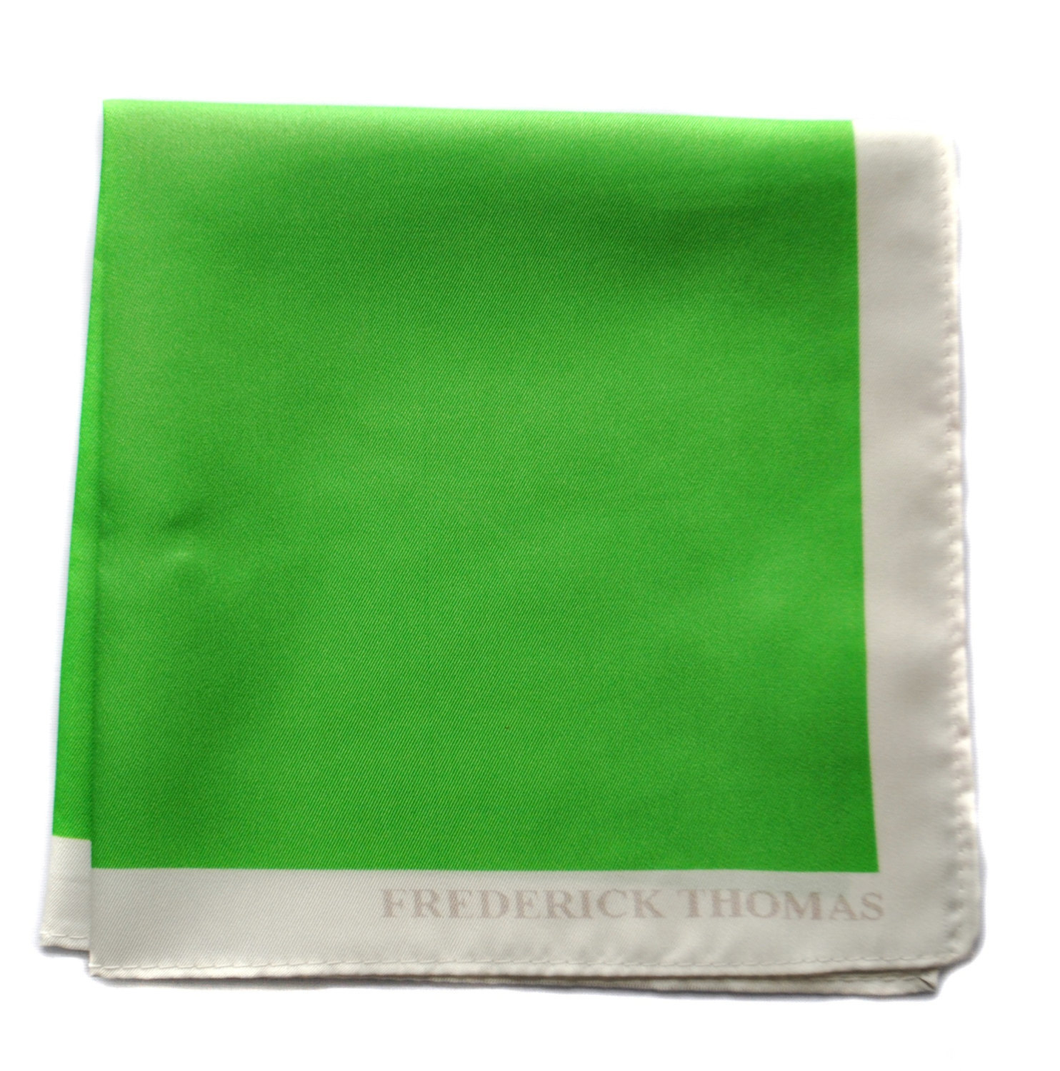 Frederick Thomas bright green pocket square with white edging FT1663
