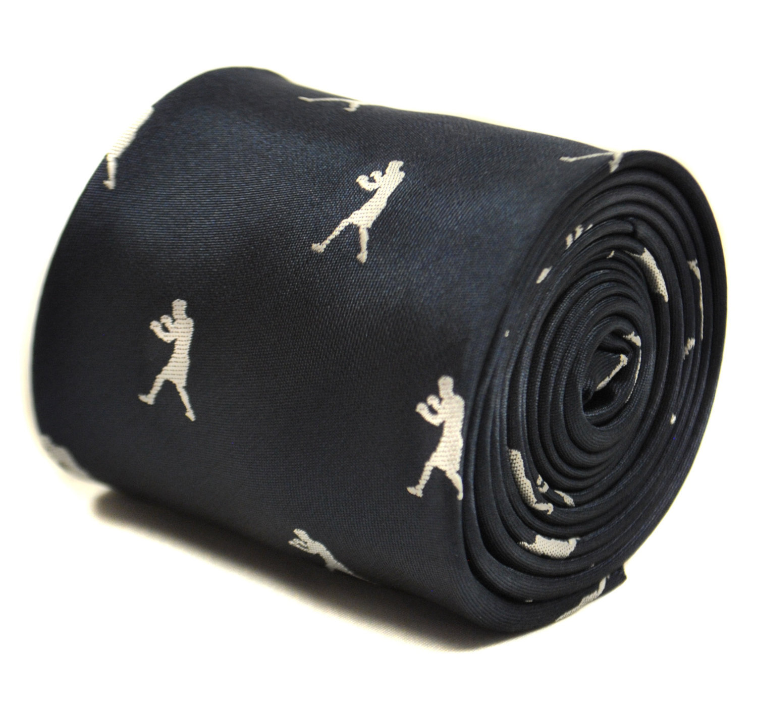 navy blue tie with boxing silhouette design with signature floral design to the