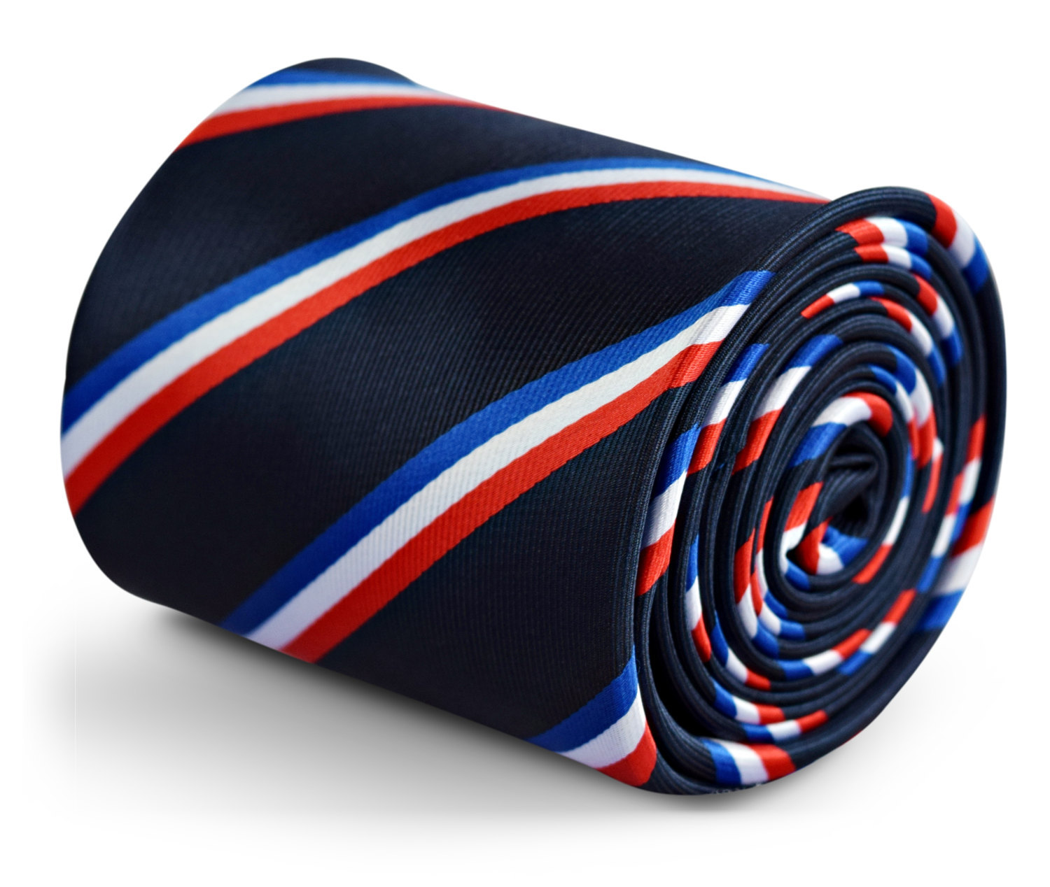 Navy tie with red, blue and white French Flag striped design with signature flor