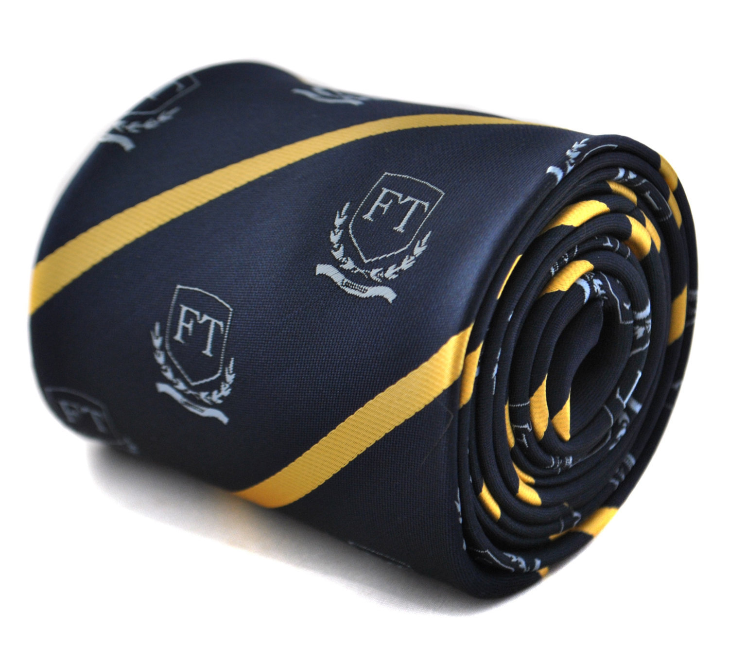 Navy tie with Frederick Thomas crest and gold stripe with signature floral desig