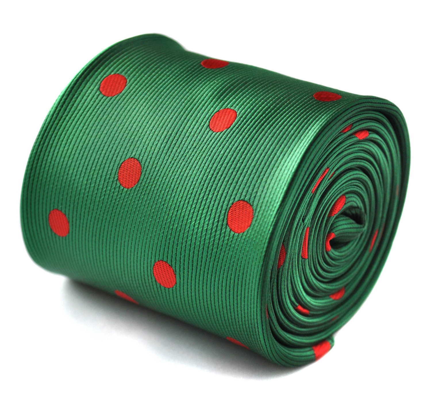 green and red polka spot tie with signature floral design to the rear by Frederi