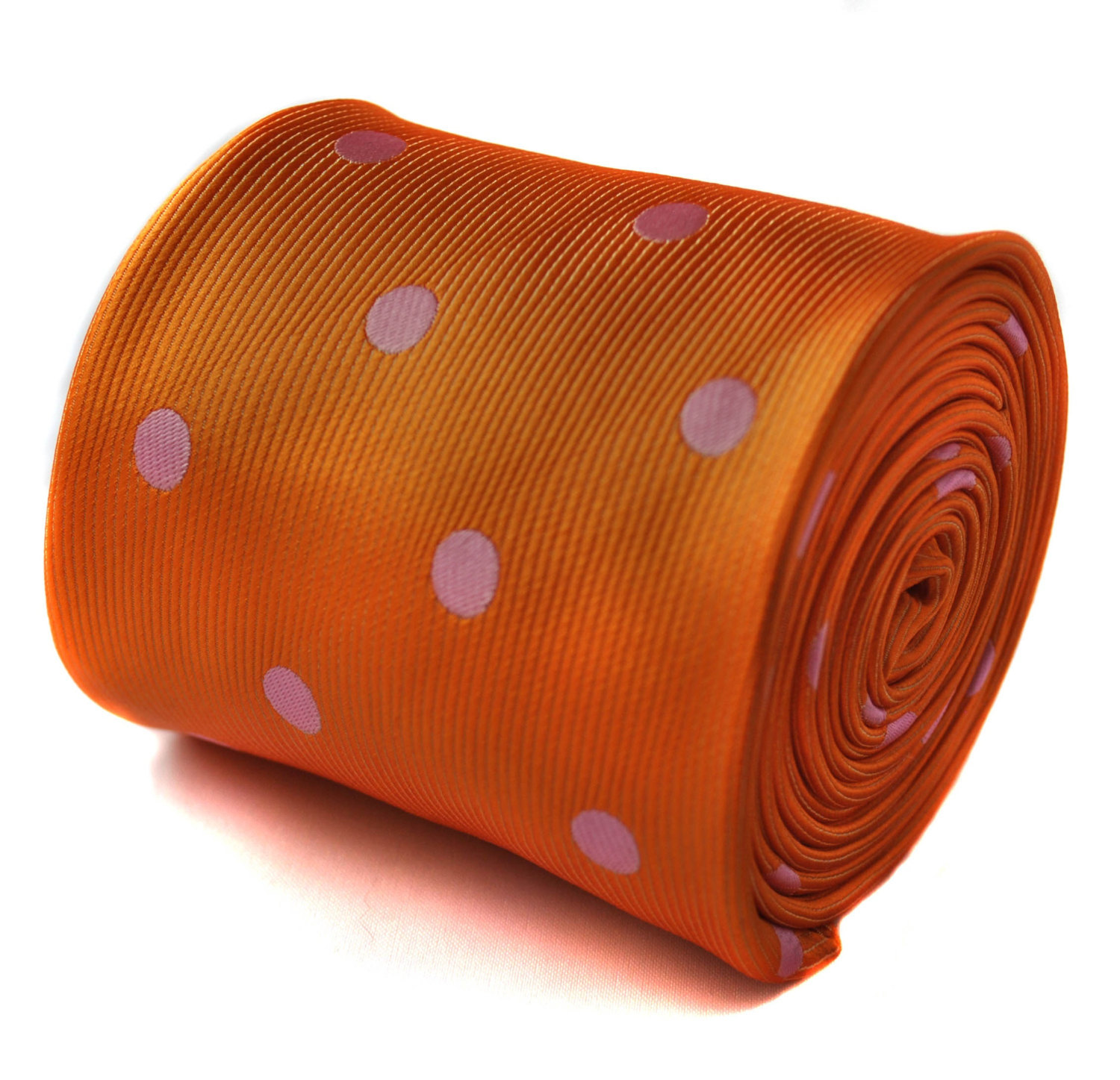 orange and pink polka spot tie with signature floral design to the rear by Frede