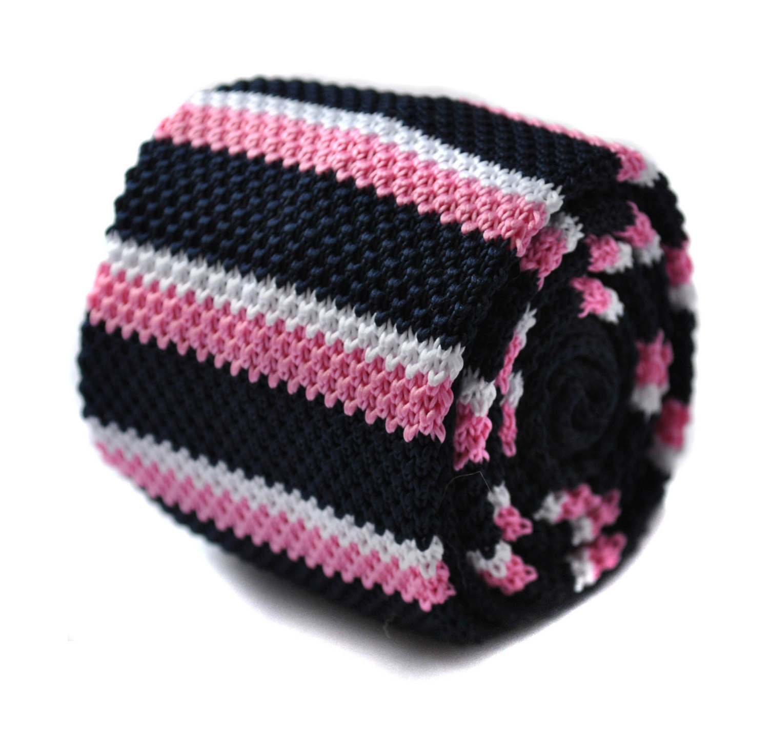 Pink, black and white striped knitted skinny tie by Frederick Thomas FT287