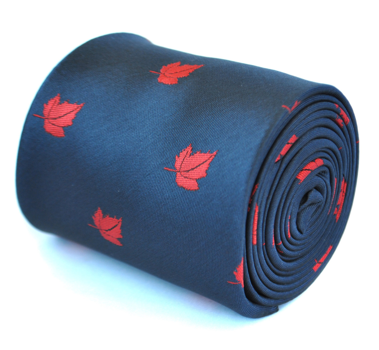 navy blue tie with canadian maple leaf design with signature floral design to re