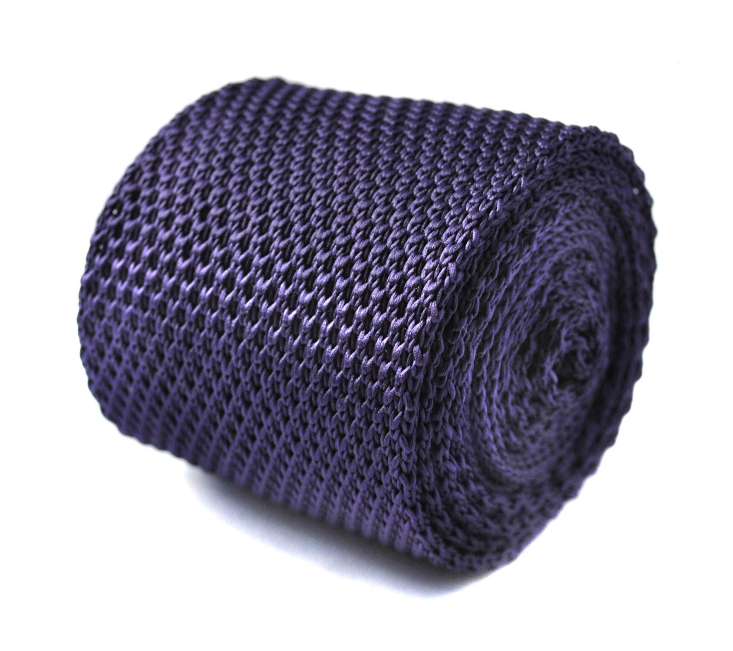 Plain purple knitted skinny tie with pointed end by Frederick Thomas FT3237