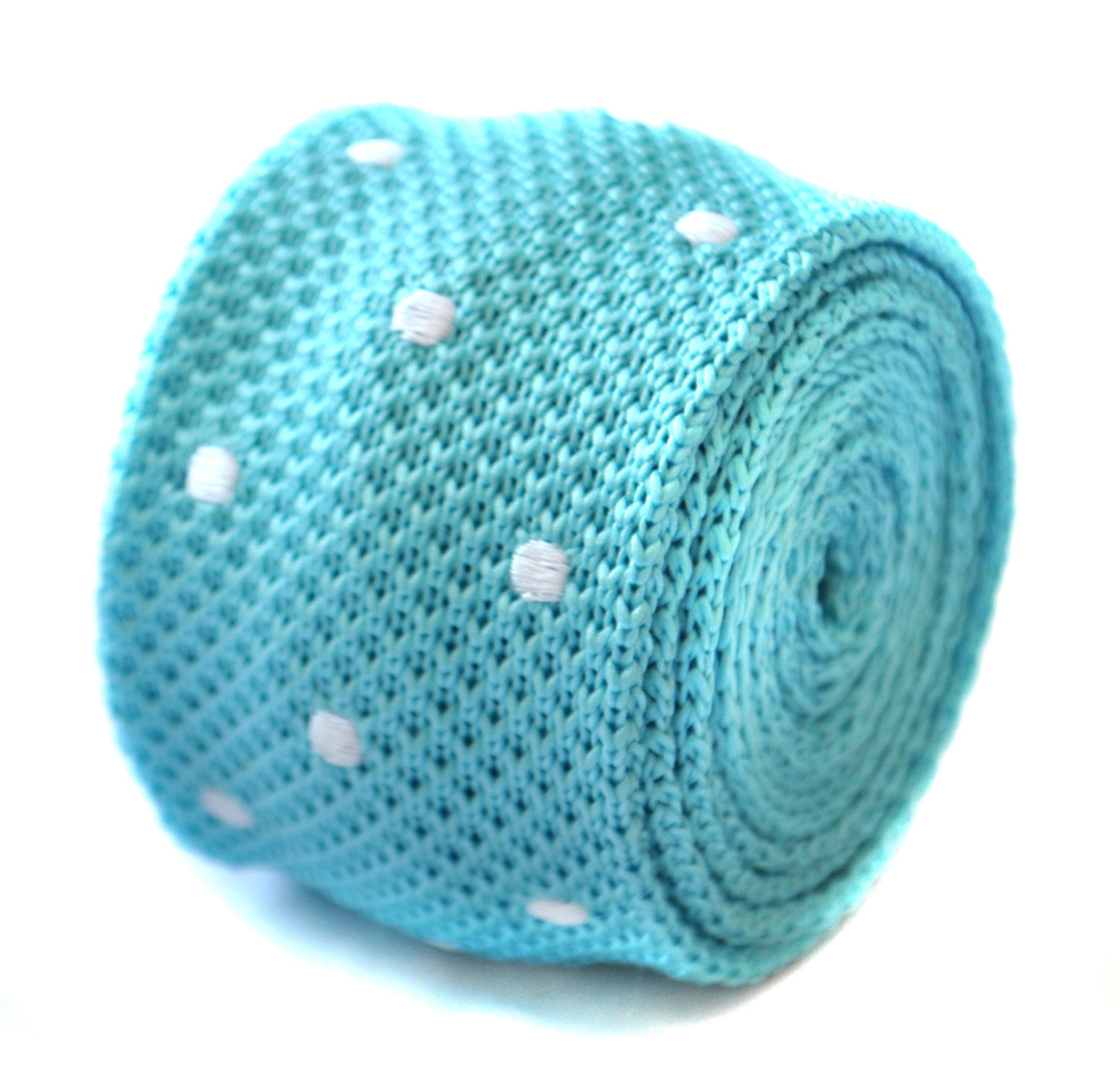 skinny knitted turquoise blue and white polka spot tie by Frederick Thomas FT188