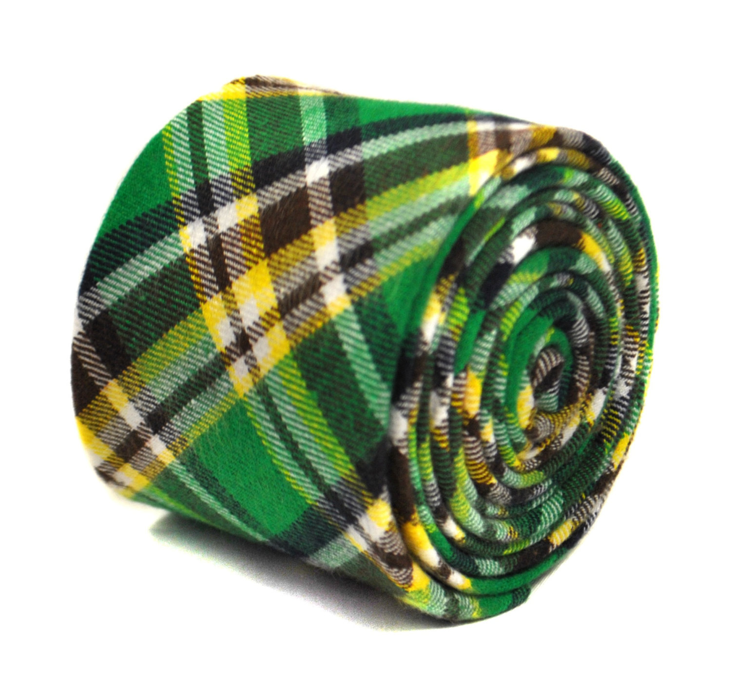 green and yellow check 100% wool tweed tie by Frederick Thomas FT2147