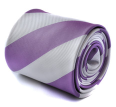 lilac purple and white barber stripe ties with signature floral design to the re