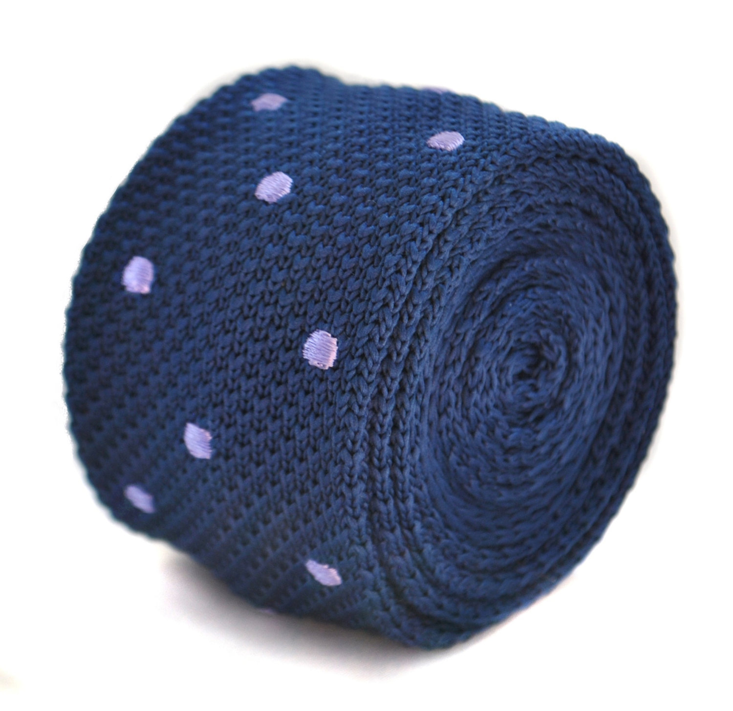 navy blue skinny knitted tie with purple polka spots by Frederick Thomas FT2032