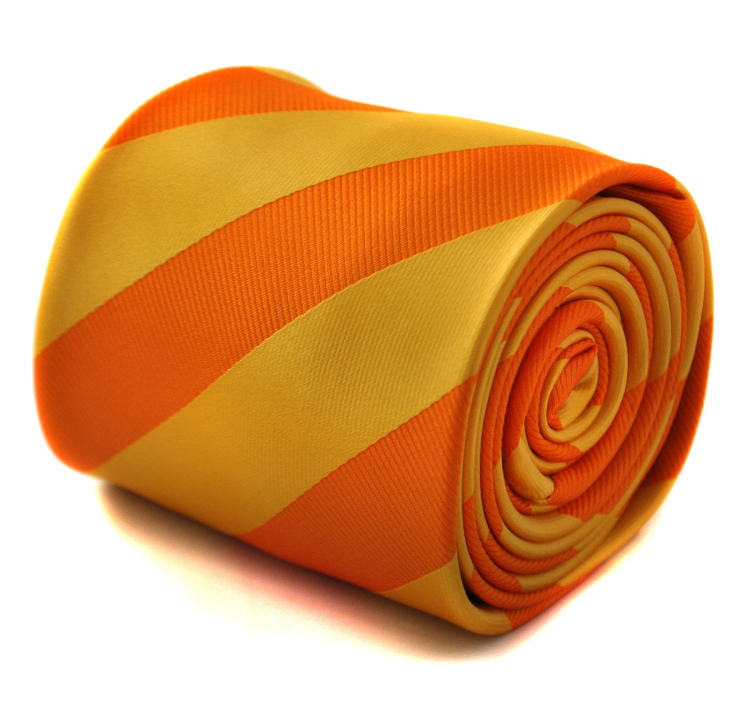 Yellow and orange barber striped tie with signature floral design to the rear by