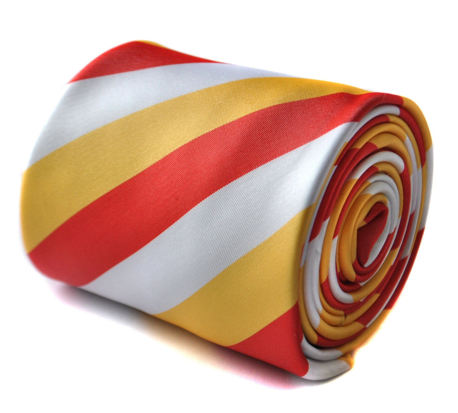 Red, yellow and white striped tie with signature floral design to the rear by Fr