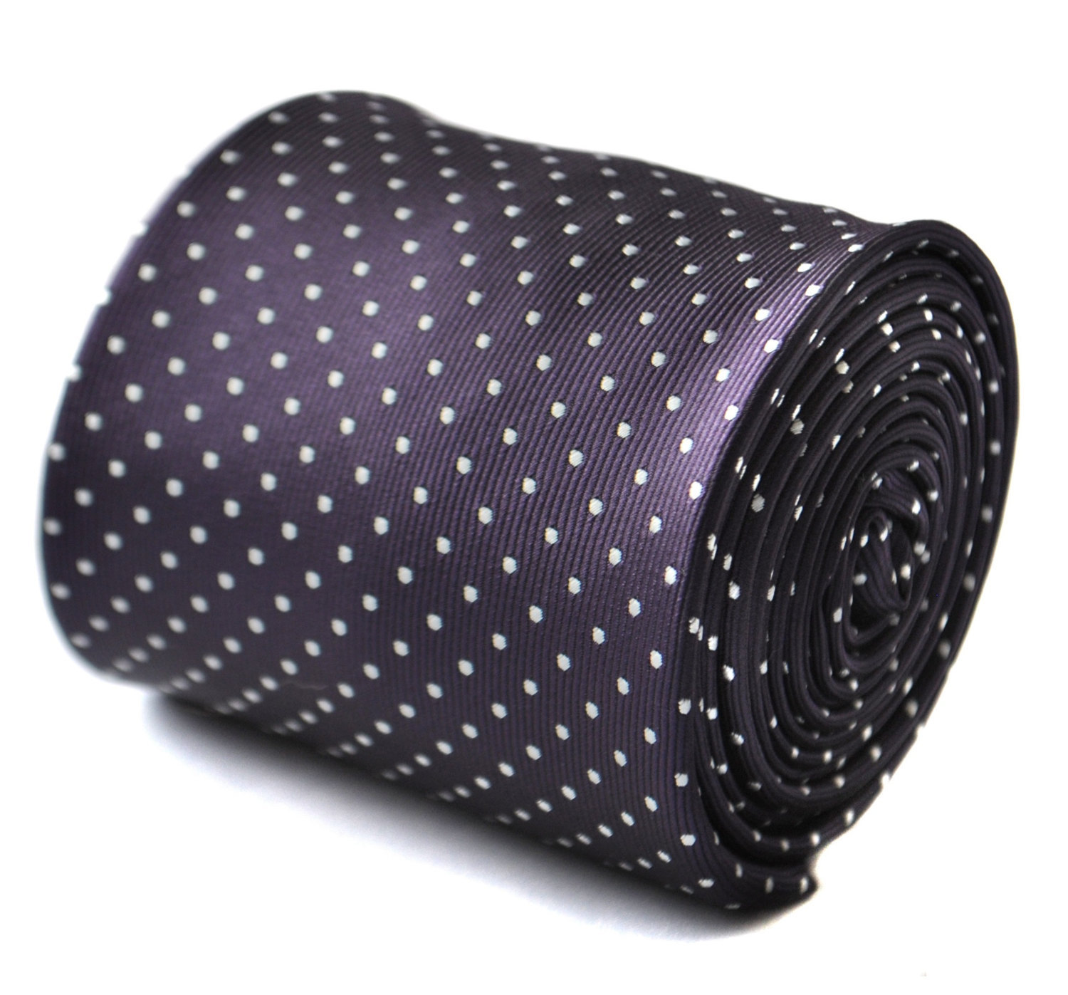 Dark purple and white pin spot tie with signature floral design to the rear by F