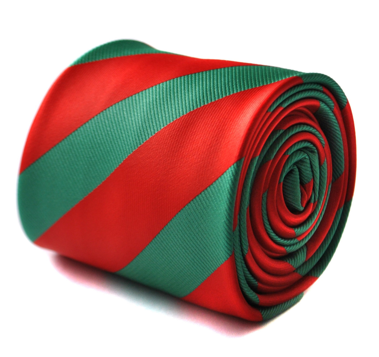 Red and dark green barber striped tie with floral design to the rear by Frederic