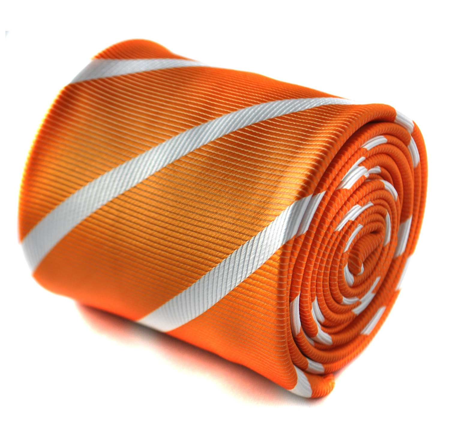 orange and white club striped tie with floral design to the rear by Frederick Th