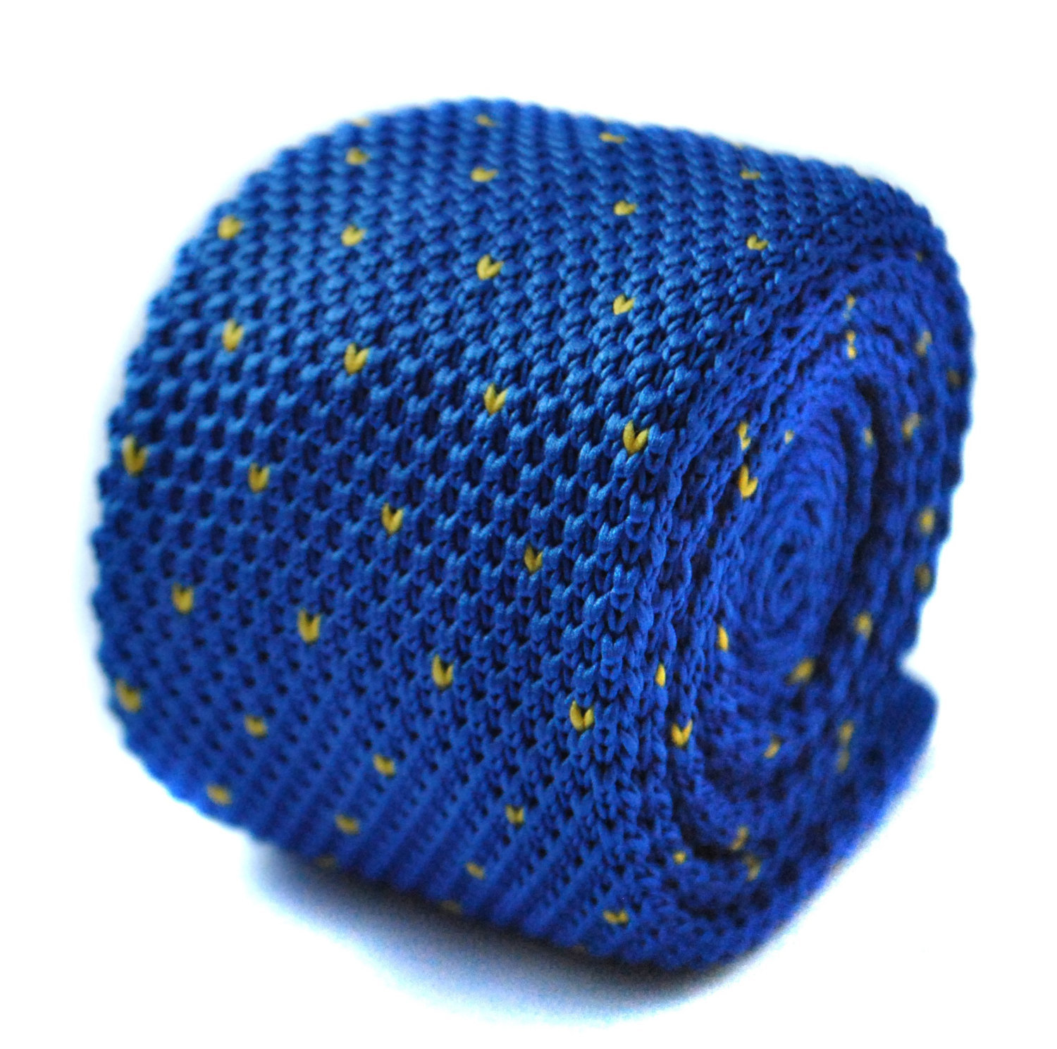 Knitted royal blue and yellow pin spot tie tie by Frederick Thomas FT1709