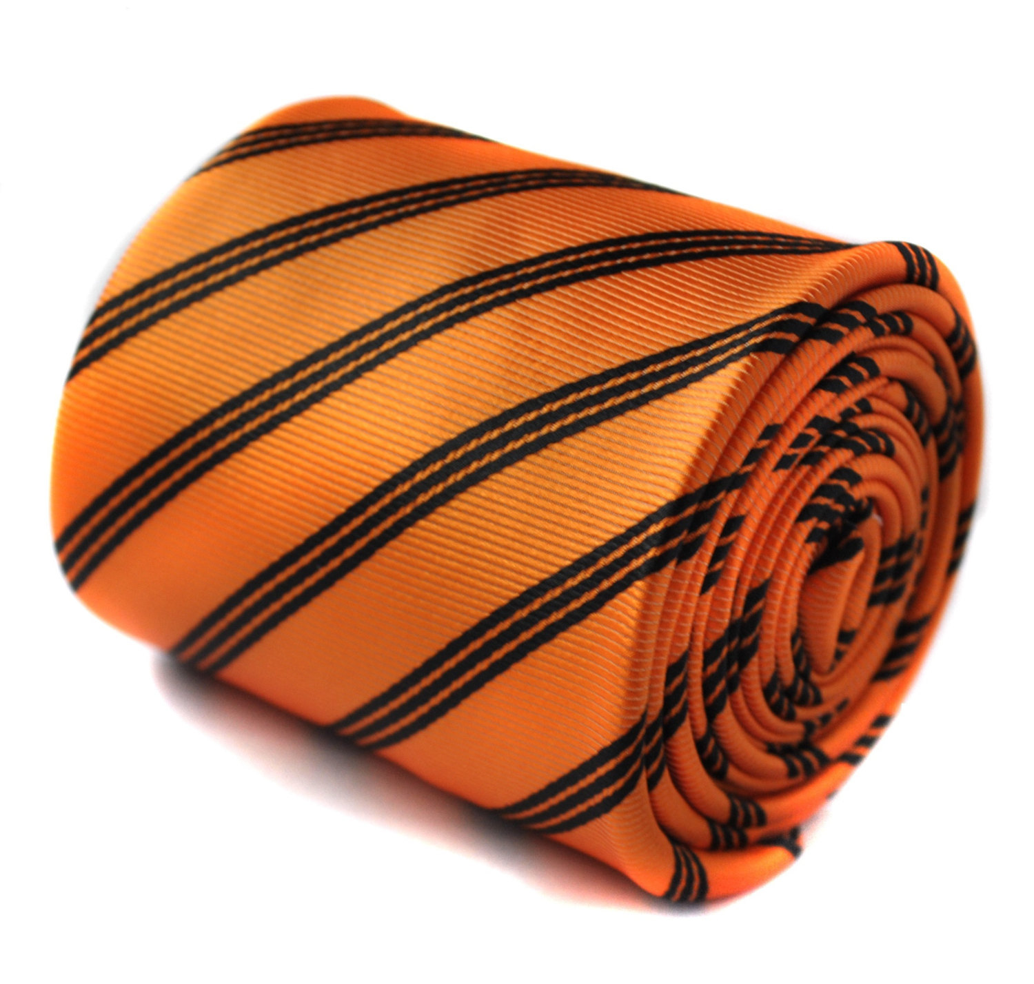 orange and black striped tie with signature floral design to the rear by Frederi