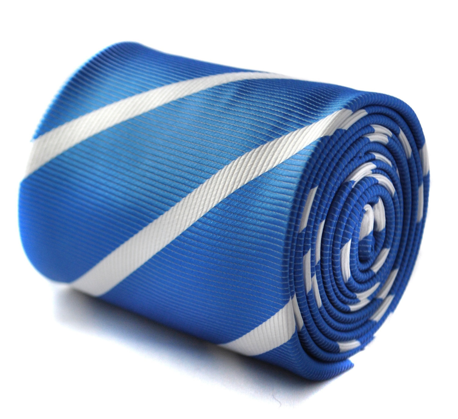 royal blue and white club striped tie with floral design to the rear by Frederic