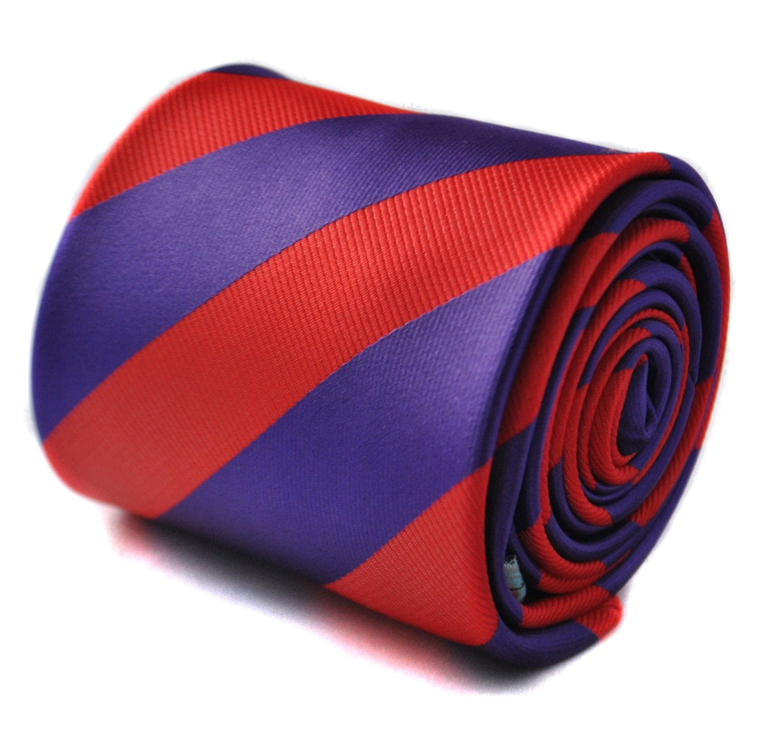 purple and red barber striped tie with floral design to the rear by Frederick Th