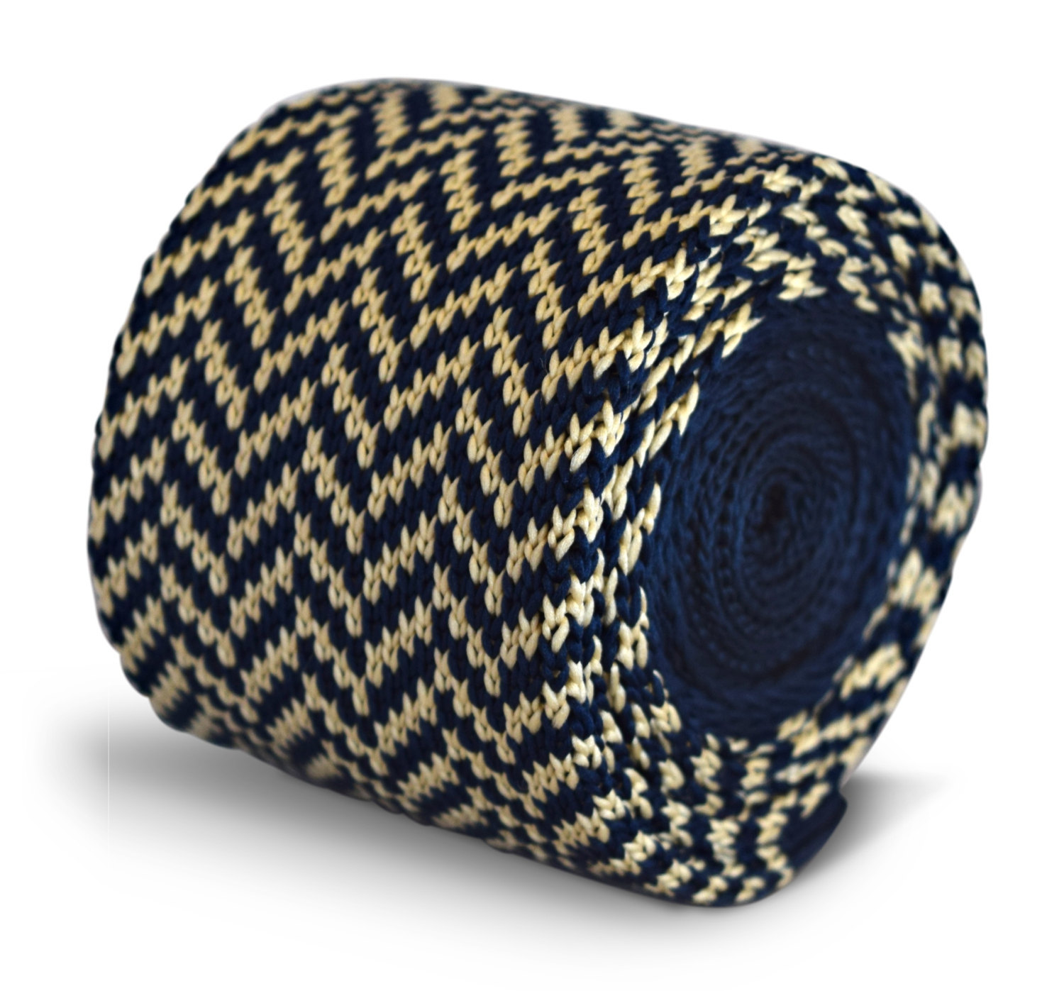 navy blue and ivory cream herringbone knitted skinny tie by Frederick Thomas FT3