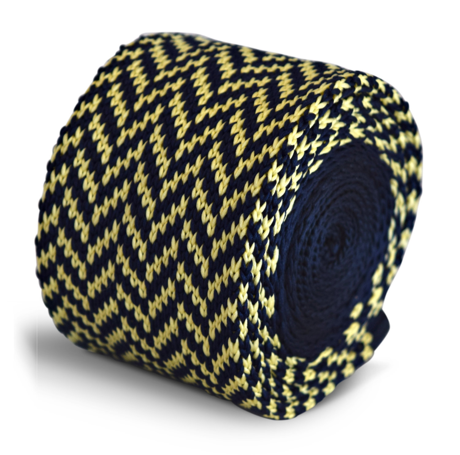 navy blue and yellow herringbone knitted skinny tie by Frederick Thomas FT3305