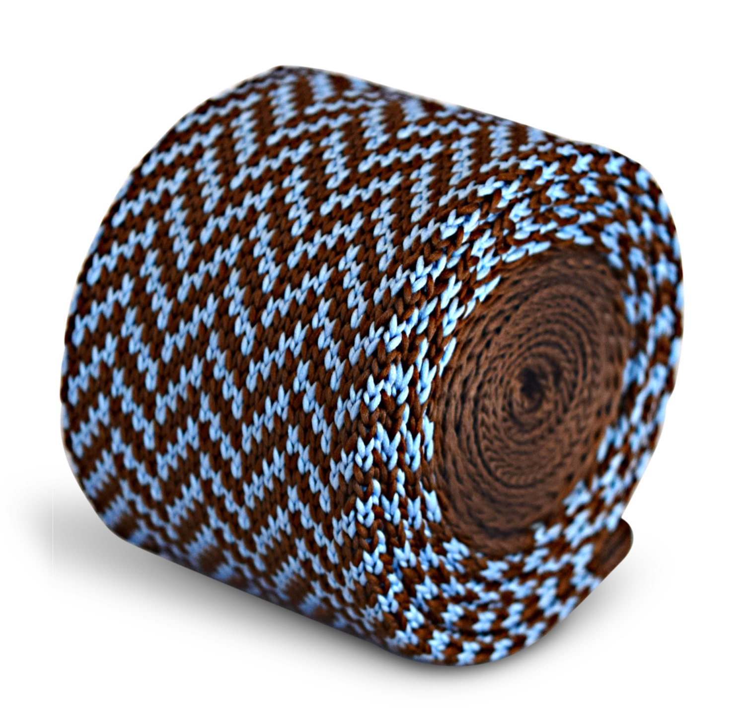 chocolate brown and light blue herringbone knitted skinny tie by Frederick Thoma