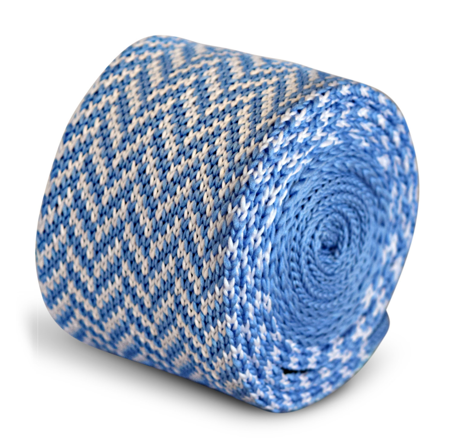 light blue and white herringbone knitted skinny tie by Frederick Thomas FT3290