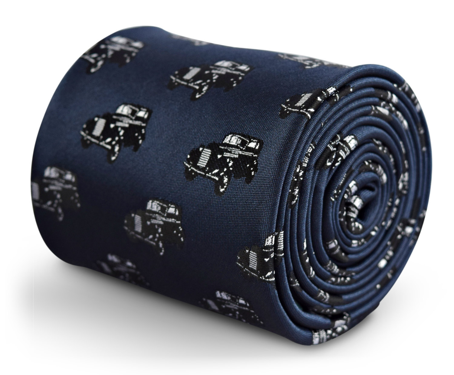 navy tie with classic car embroidered design with signature floral design to the