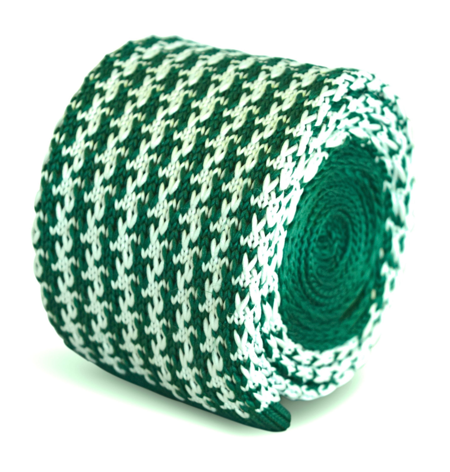 green and white dogstooth knitted skinny tie by Frederick Thomas FT3282
