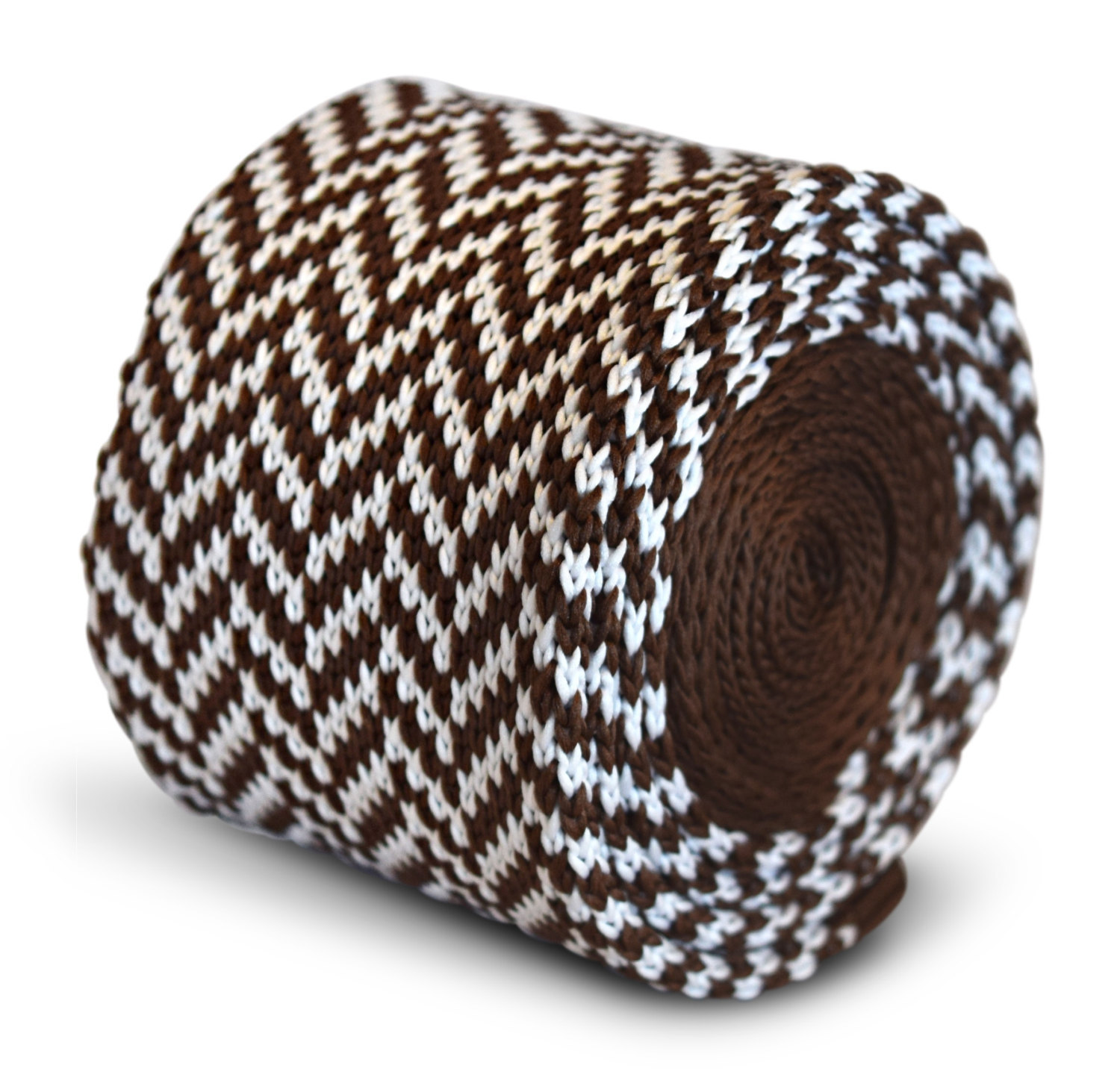 brown and white herringbone knitted skinny tie by Frederick Thomas FT3284