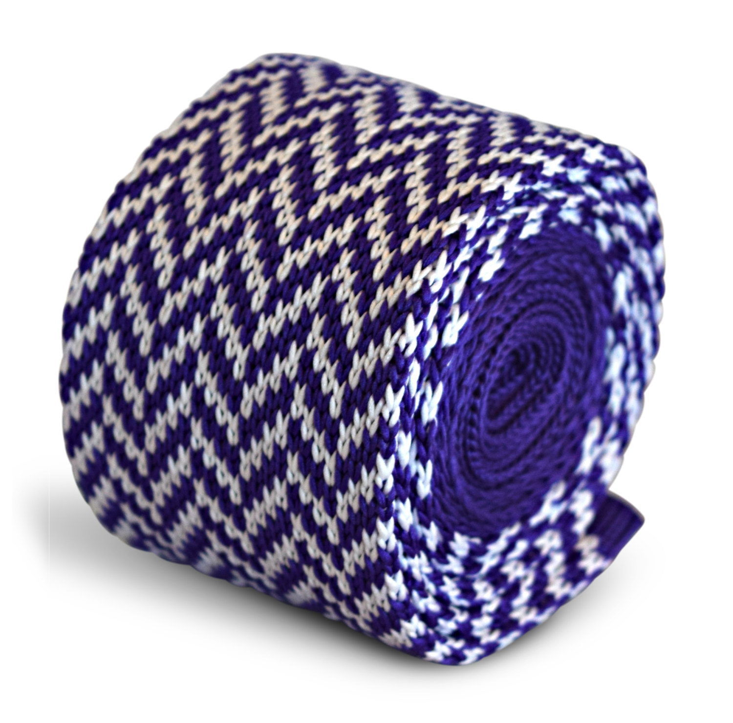 cadbury purple and white herringbone knitted skinny tie by Frederick Thomas FT32