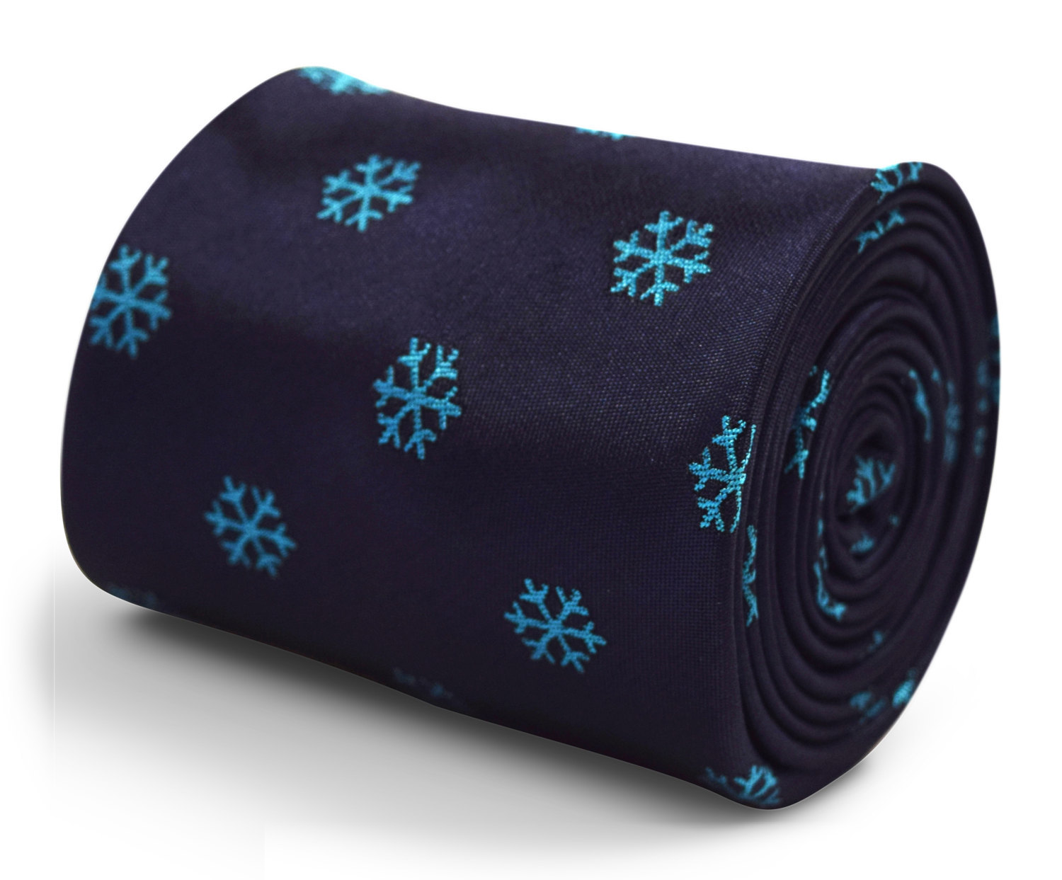 navy blue tie with snowflake embroidered design with signature floral design to