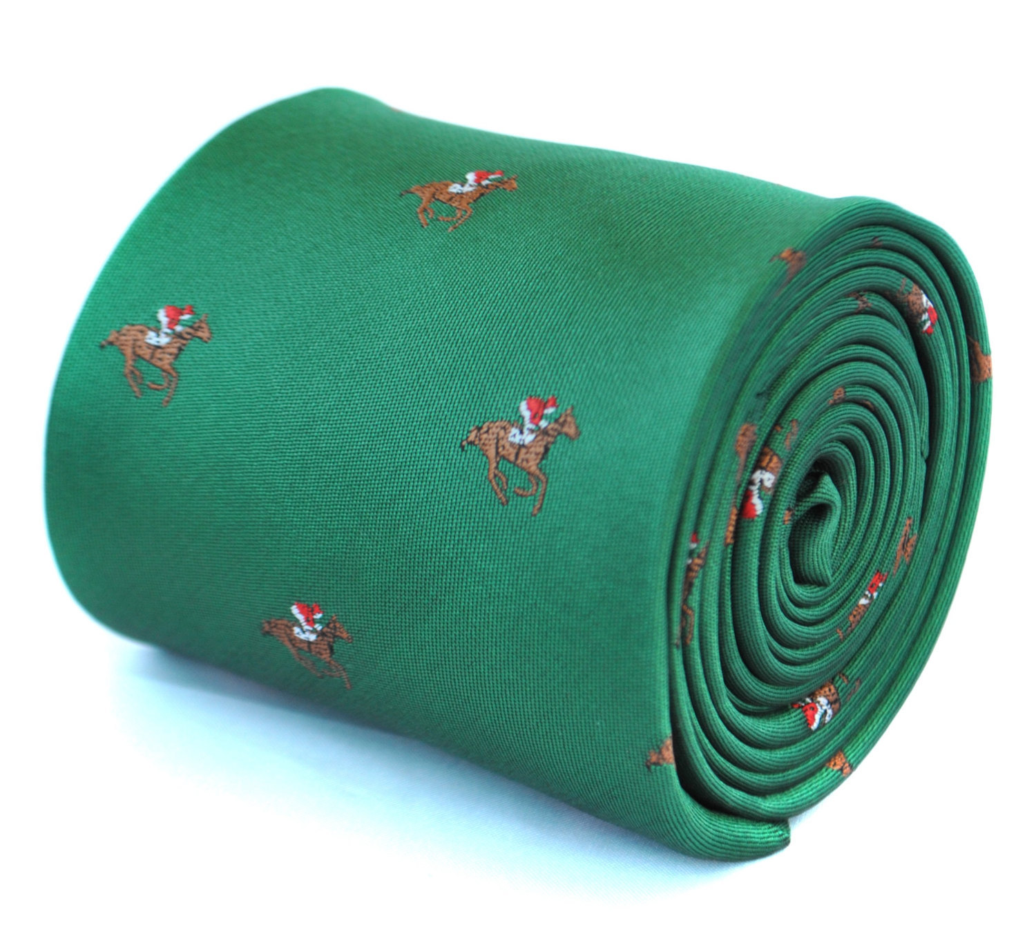 dark green tie with horse racing design with signature floral design to rear by