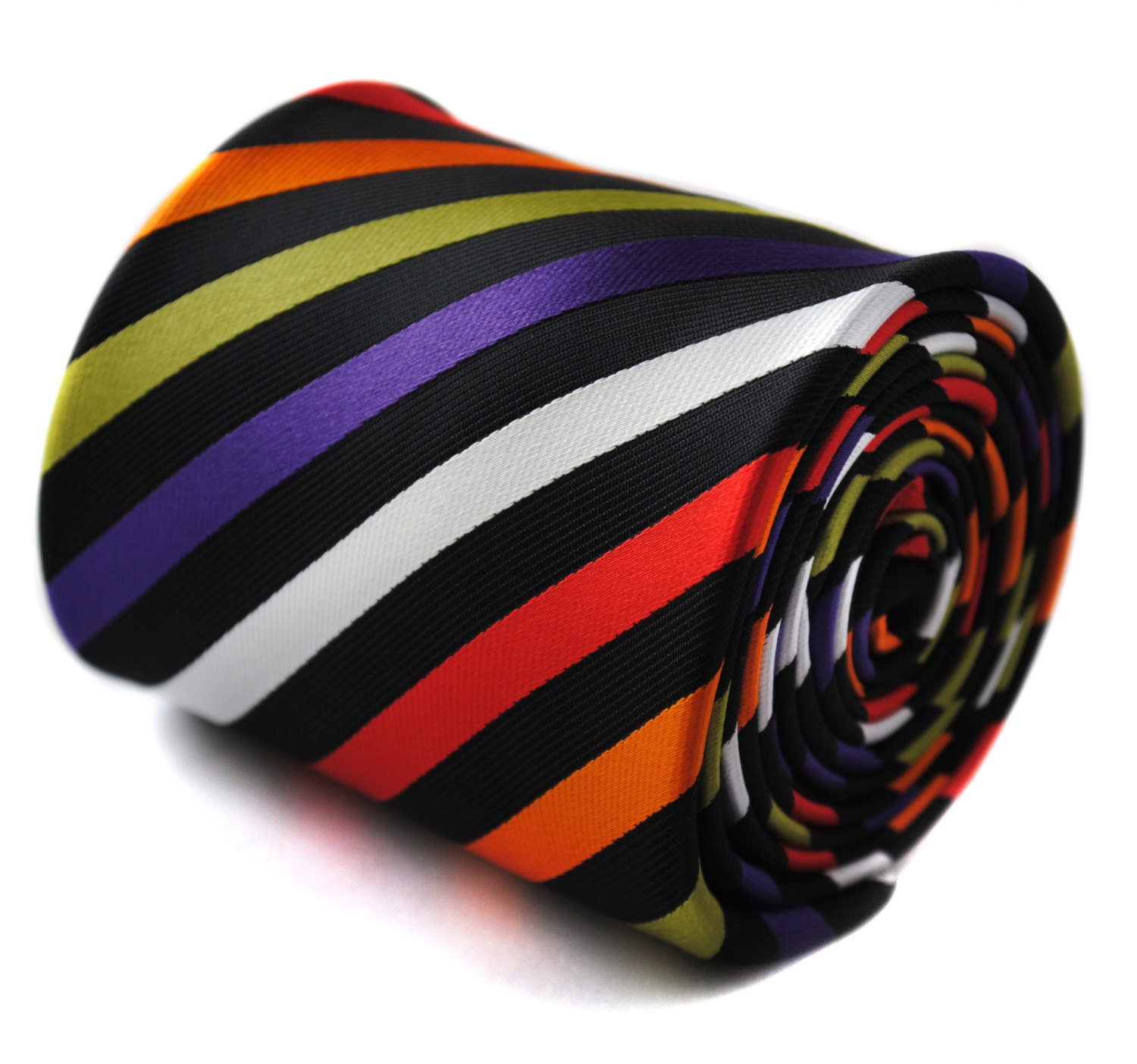 multicoloured striped mens tie with signature floral design to the rear by Frede