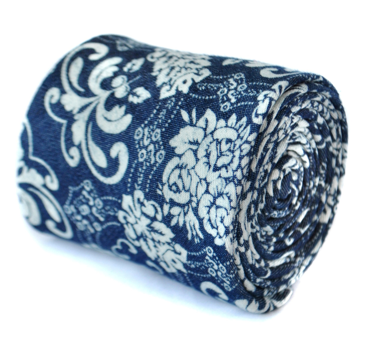 navy dark blue with damask paisley design 100% cotton linen tie by Frederick Tho