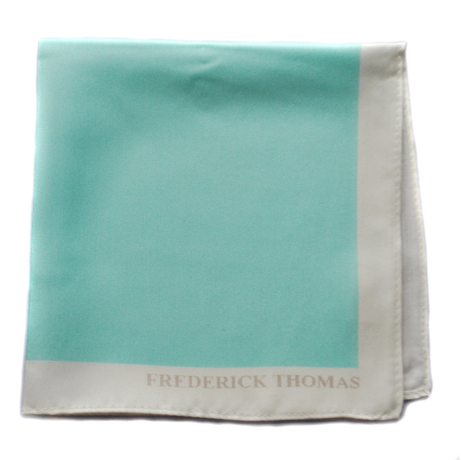 Frederick Thomas turquoise pocket square with white edging FT1667